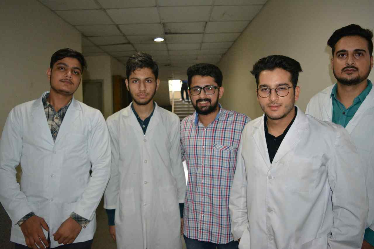 Shobhit Jayaswal with students studying in Dhaka National Medical College in Bangladesh.